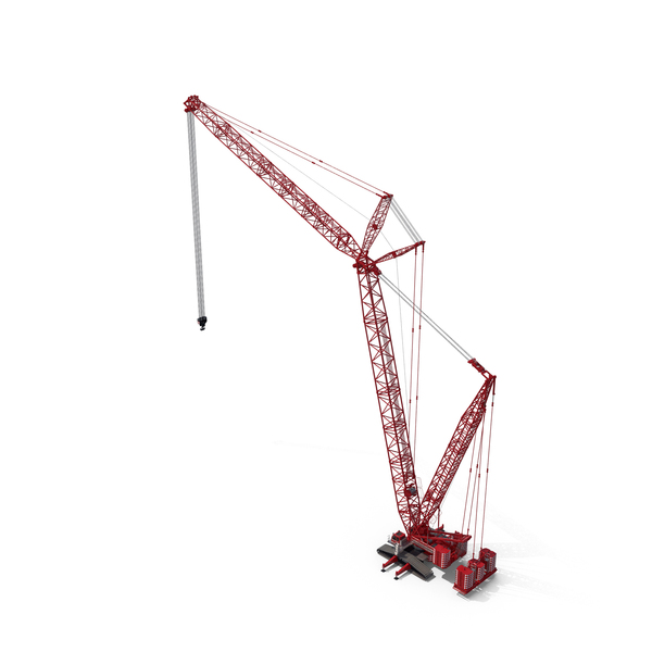 Liebherr LR 1600 2 Crawler Crane Boom and Luffing Jib 49m Red PNG & PSD Images