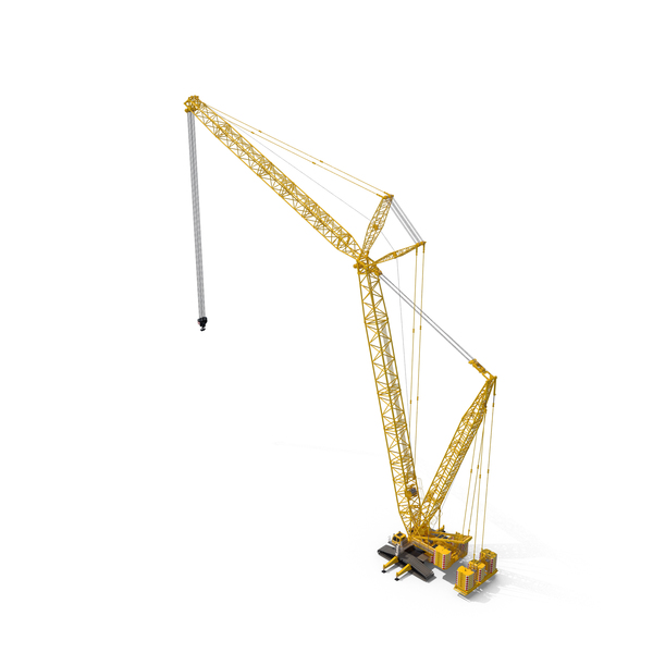 Liebherr LR 1600 Crawler Crane Boom and Luffing Jib 49m Yellow PNG & PSD Images