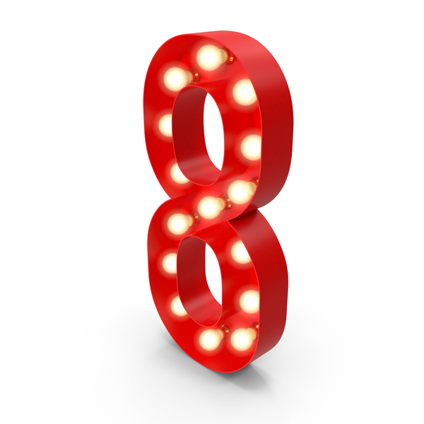 Light Bulb Glowing Alphabet Number 8 PNG & PSD Images