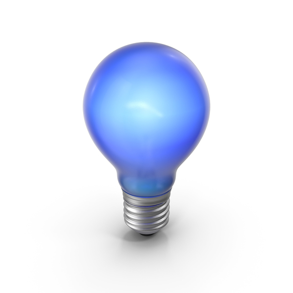 Lightbulb Blue Glossy Turned on PNG & PSD Images