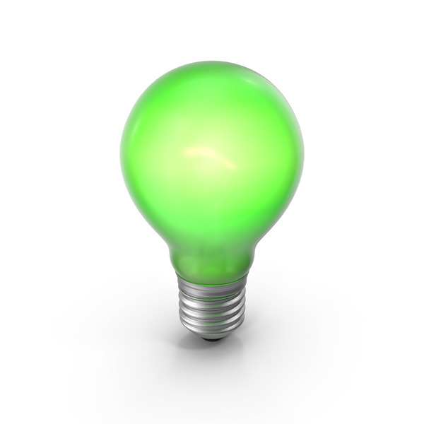 Lightbulb Green Glossy Turned on PNG & PSD Images