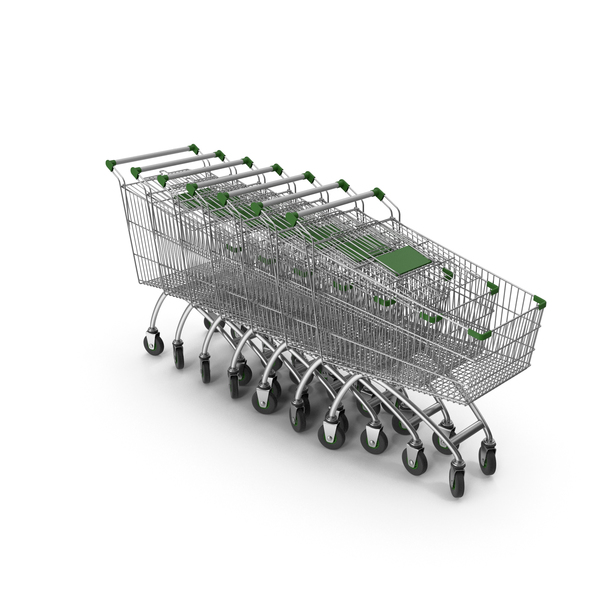 Line Of Shopping Carts With Green Plastic PNG & PSD Images