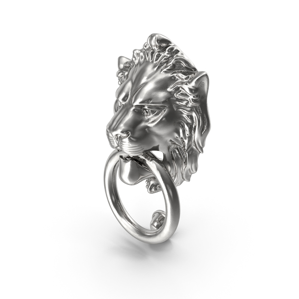Lion Door Knocker Silver PNG & PSD Images