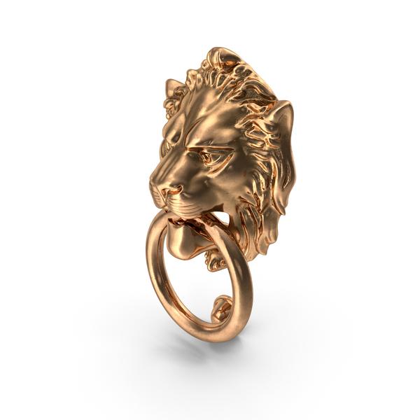 Lion Head Door Knocker Gold PNG & PSD Images