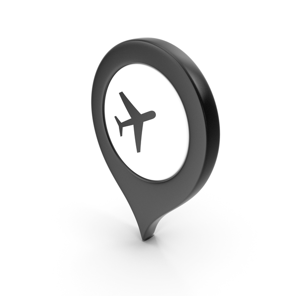 Computer Icon: Location Sign Airport Black PNG & PSD Images