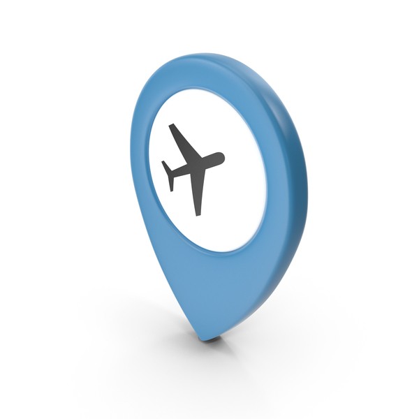 Computer Icon: Location Sign Airport Blue PNG & PSD Images