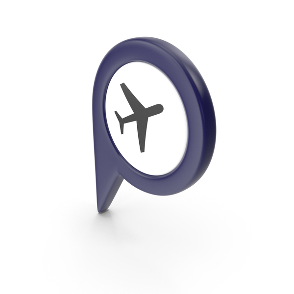Computer Icon: Location Sign Airport Dark Blue PNG & PSD Images
