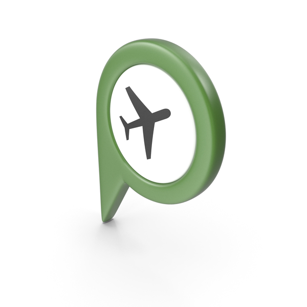 Computer Icon: Location Sign Airport Green PNG & PSD Images