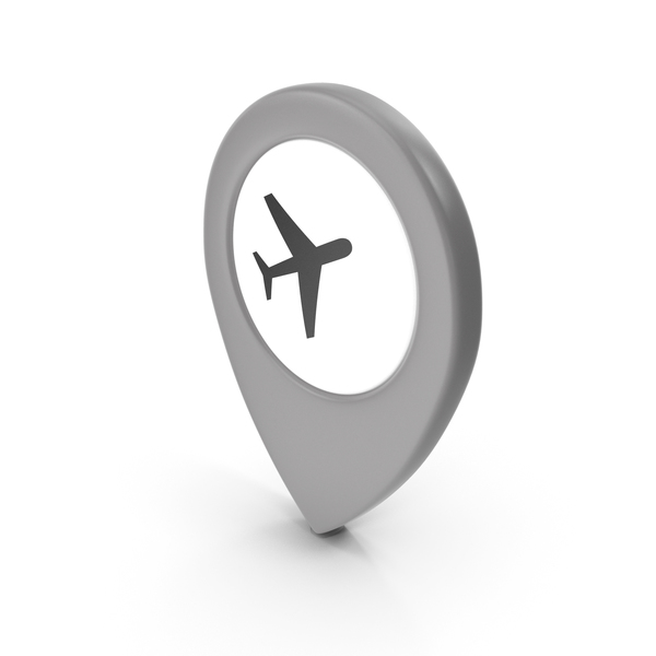 Computer Icon: Location Sign Airport Grey PNG & PSD Images