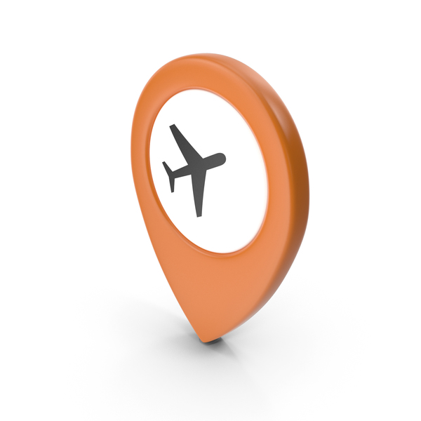 Computer Icon: Location Sign Airport Orange PNG & PSD Images