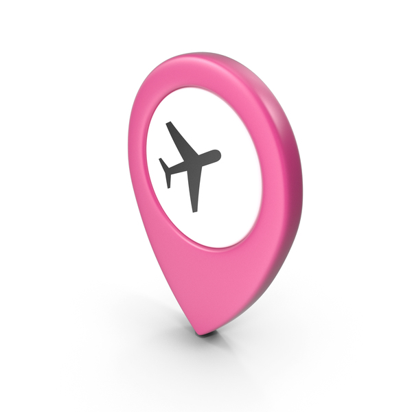 Computer Icon: Location Sign Airport Pink PNG & PSD Images