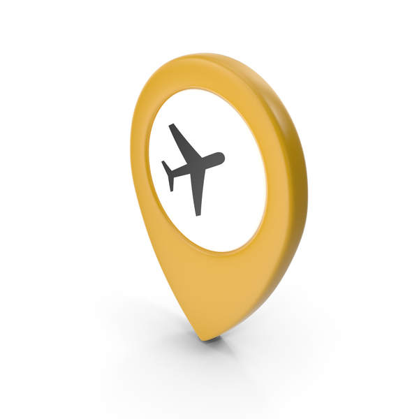 Computer Icon: Location Sign Airport Yellow PNG & PSD Images