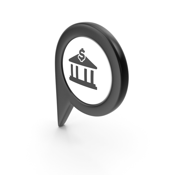 Computer Icon: Location Sign Bank Black PNG & PSD Images