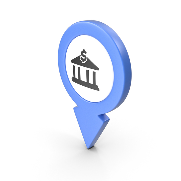 Computer Icon: Location Sign Bank Blue PNG & PSD Images