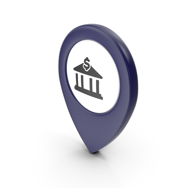 Computer Icon: Location Sign Bank Dark Blue PNG & PSD Images