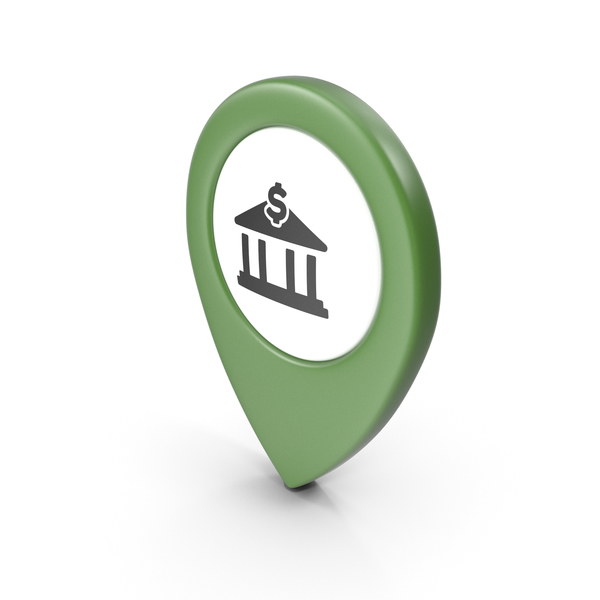 Computer Icon: Location Sign Bank Green PNG & PSD Images