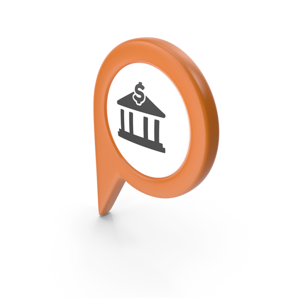 Computer Icon: Location Sign Bank Orange PNG & PSD Images
