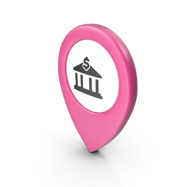 Computer Icon: Location Sign Bank Pink PNG & PSD Images