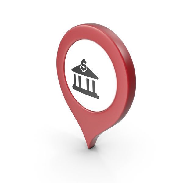 Computer Icon: Location Sign Bank Red PNG & PSD Images
