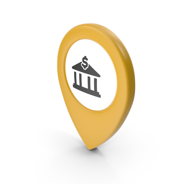 Computer Icon: Location Sign Bank Yellow PNG & PSD Images