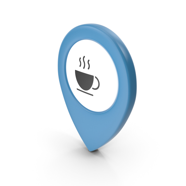 Computer Icon: Location Sign Coffe Blue PNG & PSD Images