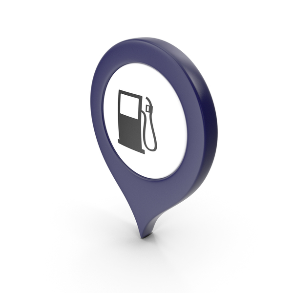 Computer Icon: Location Sign Gas Station Dark Blue PNG & PSD Images
