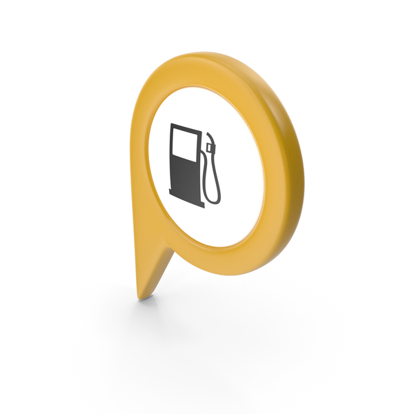 Computer Icon: Location Sign Gas Station Yellow PNG & PSD Images