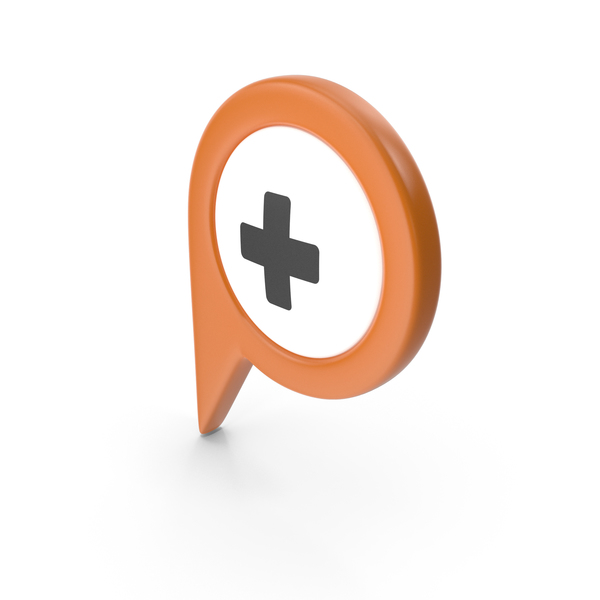 Computer Icon: Location Sign Hospital Orange PNG & PSD Images
