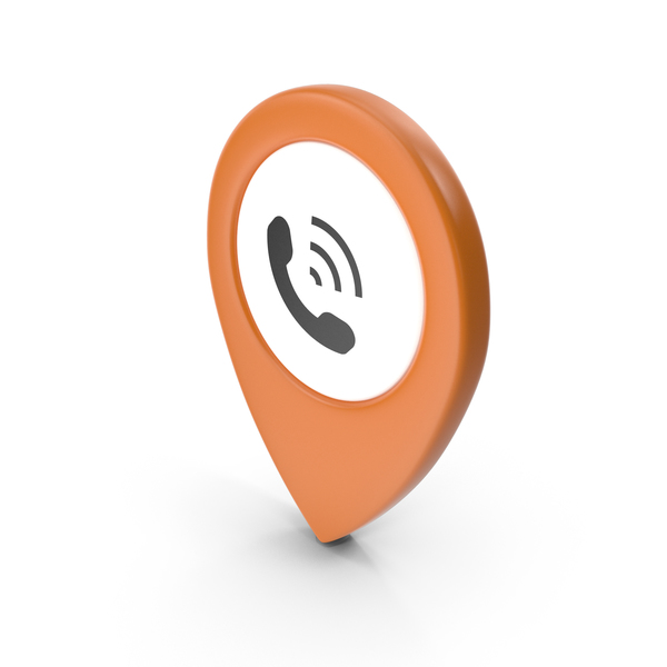 Computer Icon: Location Sign Phone Orange PNG & PSD Images