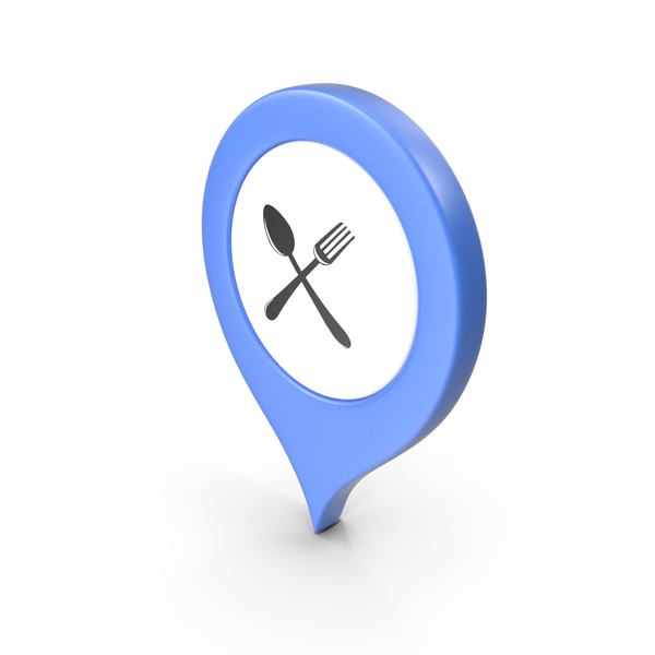 Computer Icon: Location Sign Restaurant Blue PNG & PSD Images
