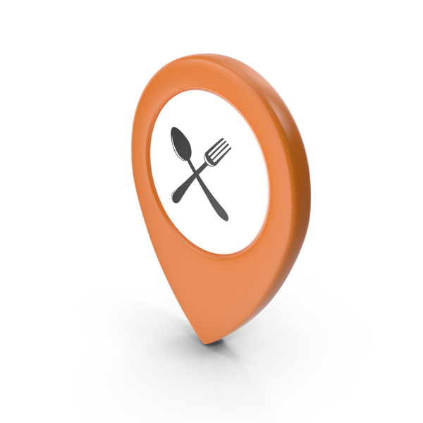 Computer Icon: Location Sign Restaurant Orange PNG & PSD Images