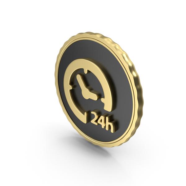 Symbol: Logo Clock Time 24H Gold PNG & PSD Images