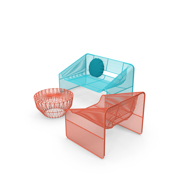 Outdoor Chair: Love Seat Drum Table PNG & PSD Images