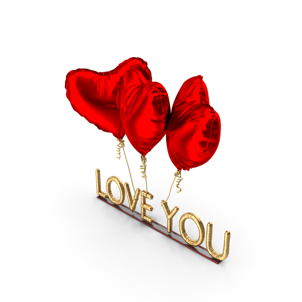 Valentine's: Love You Balloons PNG & PSD Images