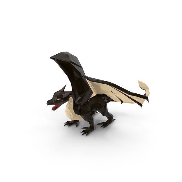 Low Poly Black Dragon PNG & PSD Images