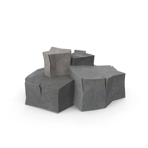 Low Poly Boulders Object