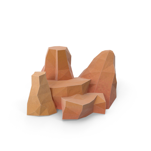 Low Poly Boulders PNG & PSD Images