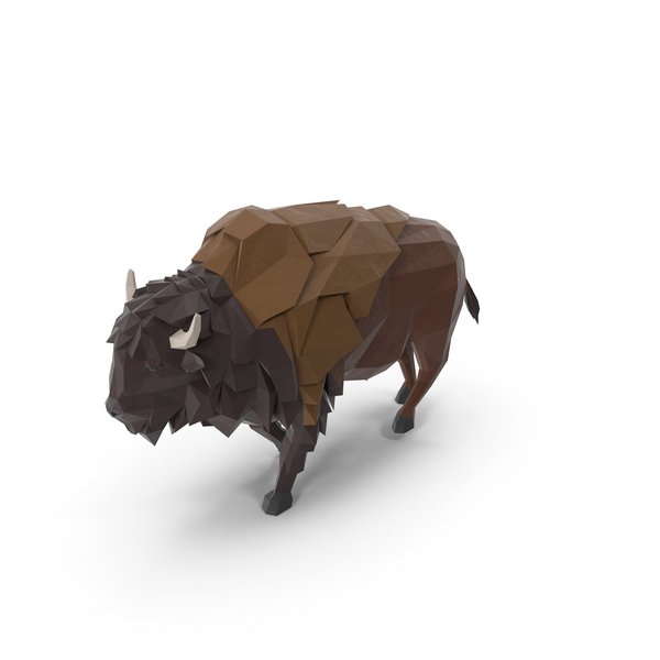 Low Poly Buffalo Object