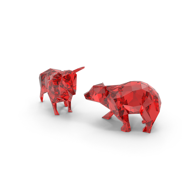 Animal Statue: Low Poly Bull and Bear PNG & PSD Images