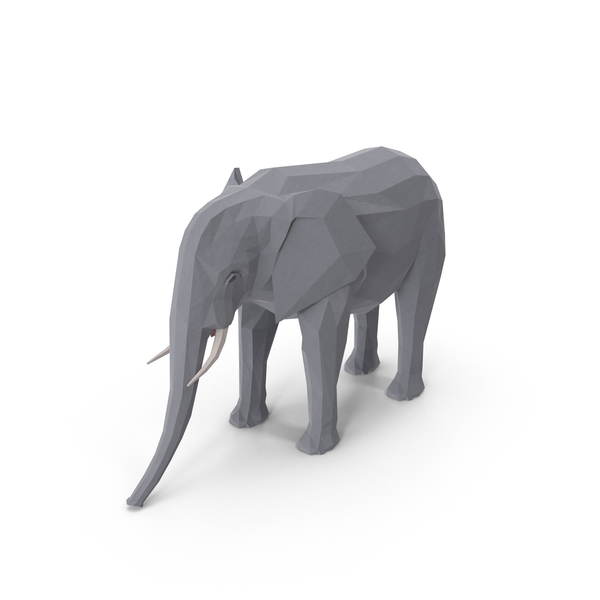Low Poly Elephant Object