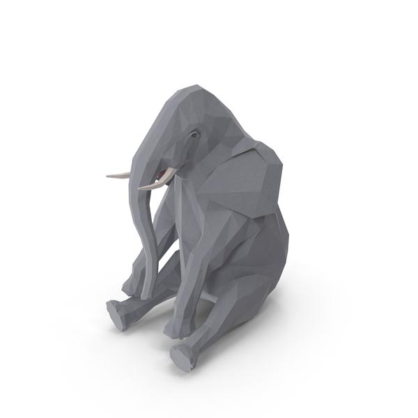 Low Poly Elephant Object