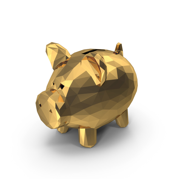 Low Poly Gold Piggy Bank PNG & PSD Images