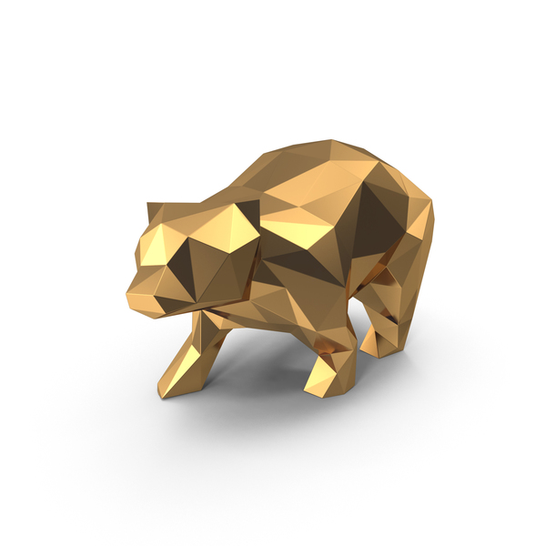 Animal Statue: Low Poly Golden Bear PNG & PSD Images