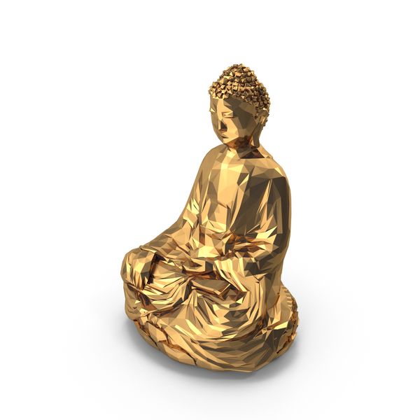 Low Poly Golden Buddha PNG & PSD Images