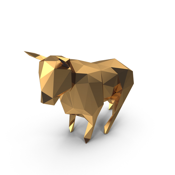 Low Poly Golden Bull PNG & PSD Images