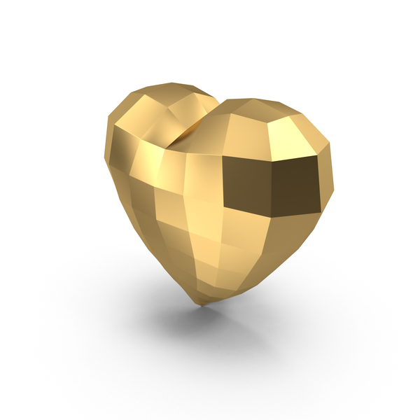 Shape: Low Poly Golden Heart PNG & PSD Images