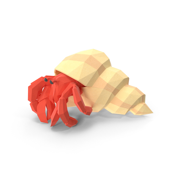 Low Poly Hermit Crab Object