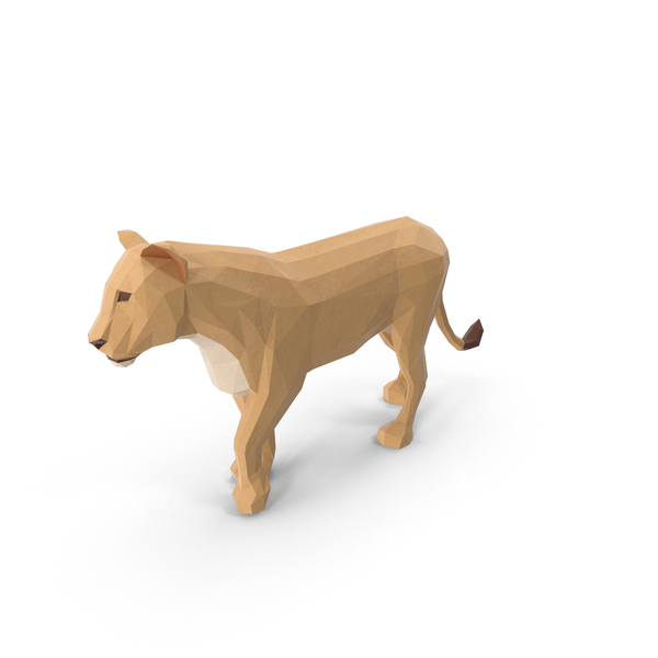 Low Poly Lioness Object
