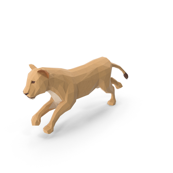 Low Poly Lioness PNG & PSD Images