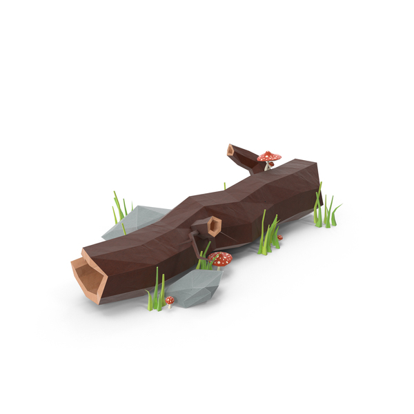 Low Poly Log with Mushrooms Object